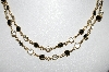 "MBA #93-106  ""Vintage Goldtone Black & Clear Glass Stone Necklace"""
