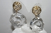 "+MBA #93-017  ""Vintage Goldtone Fancy Clear Acrylic Pierced Earrings"""