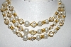 "MBA #92-057  ""Vintage Goldtone Layered Faux Pearl  & AB Crystal Beads  Necklace"""
