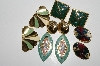 "MBA #93-093  ""Vintage Lot Of  4 Pairs Goldtone & Enameled Pierced Earrings"""