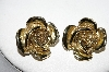 "MBA #93-012  ""Vintage Goldtone Rose Clip On Earrings"""