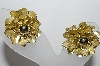 "MBA #93-143  ""Coro Goldtone Fancy Flower Clip On Earrings"""