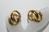 "MBA #93-023  ""Napier Goldtone Interlocking Clip On Earrings"""