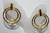 "+MBA #93-052  ""Vintage Gold Plated Faux Pearl Pierced Earrings"""