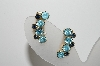 "MBA #98-106  ""Vintage Goldtone Two Shades Of Blue Rhinestone Clip On Earrings"""