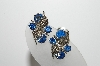 "MBA #98-284  ""Vintage Silvertone Fancy Blue Rhinestone Clip On Earrings"""