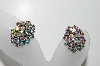 "MBA #98-179  ""Vintage Antiqued Silvertone AB Crystal Rhinestone Clip On Earrings"""