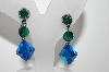 "MBA #98-243  ""Vintage Silvertone Peacock Colored Glass Bead Earrings"""