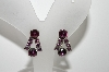 "MBA #98-040  ""Vintage Silvertone Purple Rhinestone Screw Back Earrings"""