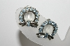 "MBA #98-109  ""Vintage Silvertone Blue Rhinestone Wreath Clip On Earrings"""