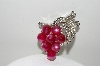 "MBA #98-102  ""Coro Pink Grapes & Clear Rhinestone Brooch"""