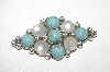 "+MBA #98-097  ""Vintage Silvertone Faux Turquoise & Moonstone Brooch"""
