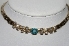 "**MBA #98-300  ""Kafin Of New York Goldtone Clear Rhinestones With Blue Center Stone Necklace"""