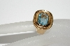 "+MBA #98-080  ""Vintage Gold Plated Baby Blue Glass Stone Ring"""