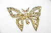"+MBA #98-023  ""Vintage Goldtone AB Crystal Rhinestones & Faux Pearl Butterfly Pin"""
