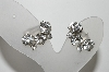 "MBA #98-115 ""Vintage Silvertone Clear Crystal Rhinestone Clip On Earrings"""