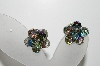 "MBA #98-114  ""Vintage Solvertone AB Crystal Clip On Earrings"""