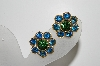 "MBA #98-149  ""Lisner Goldtone Blue & Green Rhinestone Clip On Earrings"""