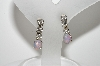 "MBA #98-027  ""Vintage Silvertone Small Rhinestone & Glass Opal Screw Back Earrings"""