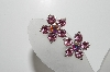 "MBA #98-117  ""Vintage Silvertone Pink Crystal Rhinestone Clip On Earrings"""