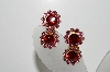 "MBA #98-043  ""Vintage Goldtone Pink & Red Crystal Rhinestone Clip On Earrings"""