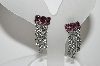 "MBA #98-119  ""Vintage Silvertone Purple & Clear Crystal Rhinestone Screw back Earrings"""
