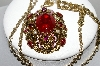 "MBA #98-397  ""Vintage Goldtone Fancy Red Acrylic Stone & Faux Pearl Pendant With Chain"""