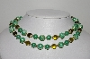 "MBA #98-165  ""Vintage Made In Japan Green Acrylic Bead 2 Row Necklace"""