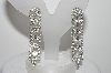 "MBA #98-178  ""Vintage Silvertone Fancy Clear Crystal Rhinestone Clip On Earrings"""