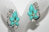 "MBA #98-651  ""Vintage Silvertone Blue Lucite & Clear Crystal Screw back Earrings"""