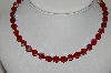 "MBA #98-035  ""Vintage Red AB Crystal Bead Necklace"""