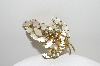 "+MBA #98-074   ""Vintage Goldtone Mother Of Pearl & AB Rhinestone Pin"""