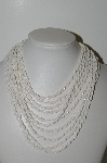 "MBA #98-154  ""Vintage White Glass Bead Necklace"""