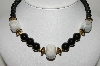 "MBA #98-061  ""Vintage Made In Japan Black Acrylic Beads & Ceramic Bead Necklace"""