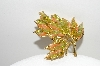 "+MBA #98-058  ""Vintage Goldtone Green & Peach Colored Polished Stone Leaf Pin"""