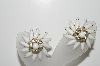 "MBA #98-219  ""Judy Lee  Fancy Milk Glass & Clear Crystal Rhinestone Clip On Earrings"""