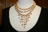 **  3 Row Pink Glass Pearl Necklace W/ Matching Stretch Bracelet
