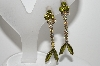 "MBA #99-079  ""Vintage Silvertone Green & AB Rhinestone Dangle Clip On Earrings"""