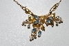 "MBA #99-374  ""Regel 12K Gold Filled Clear & Blue Crystal Rhinestone Necklace"""