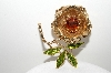 "MBA #99-386  ""Sarah Coventry Large Goldtone Rose Brooch"""
