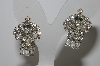 "MBA #99-551  ""Vintage Silvertone Clear Crystal Rhinestone Clip On Earrings"