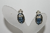 "MBA #99-460  ""Vintage Silvertone Blue Crystal Rhinestone Clip On Earrings"""