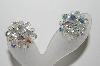 "MBA #99-505  ""Vintage Silvertone Clear AB Crystal Cluster Earrings"""