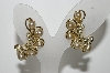 "**MBA #99-364  ""Sarah Coventry Goldtone Faux Pearl & Rhinestone Clip On Earrings"""