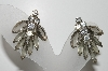 "MBA #99-543  ""Vintage Silvertone Smoke & Clear Rhinestone Clip On Earrings"""