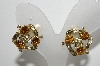 "MBA #99-218  ""Vintage Goldtone Golden & Clear Rhinestone Clip On Earrings"""