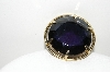"+MBA #99-589  ""Vintage Goldtone Large Round Blue Glass Pin"""