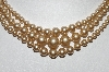 "**MBA #99-623  ""Vintage Made In Japan 3 Row Champagne Colored Faux Glass Pearl Necklace"""