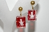 "+MBA #99-361  ""Vintage Goldtone Red & Clear Lucite Screw Back Earrings"""