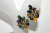 "MBA #99-668  ""Holly Craft Goldtone Multi Colored Rhinestone Clip On Earrings"""
